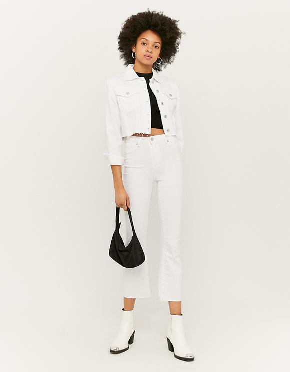 Pantalon Blanc Taille Haute Court Évasé