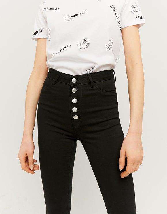 Pantalon Skinny Taille Haute avec Boutons