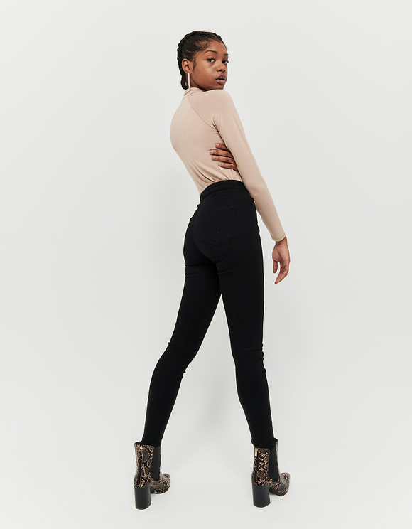 Black High Waist Pants with Golden Details