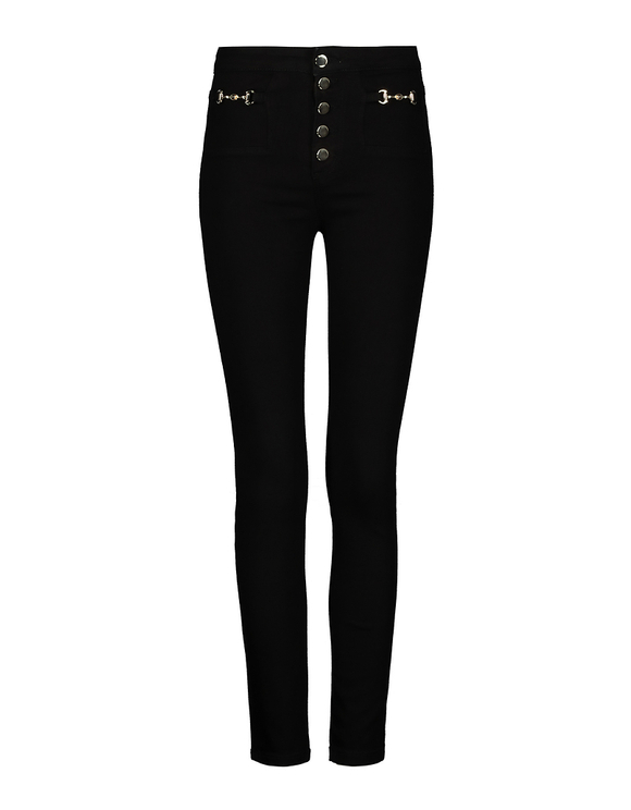Black High Waist Pants with Golden Details