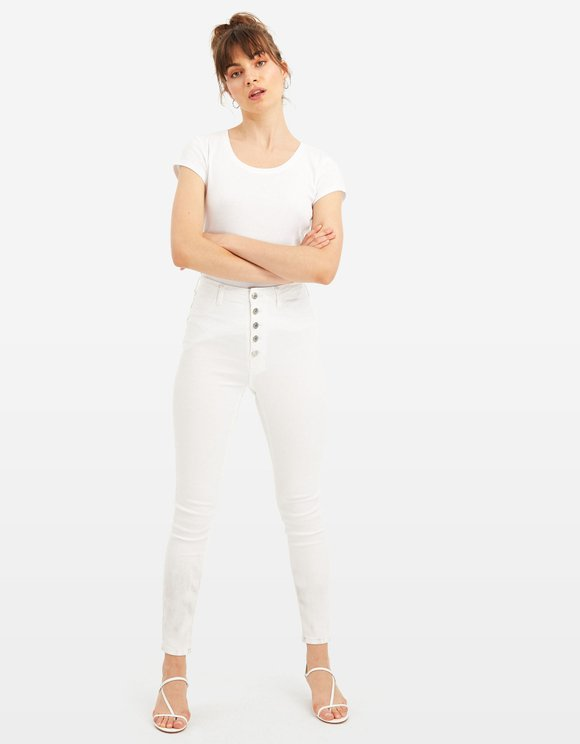 High Waist Button Front Skinny Trousers