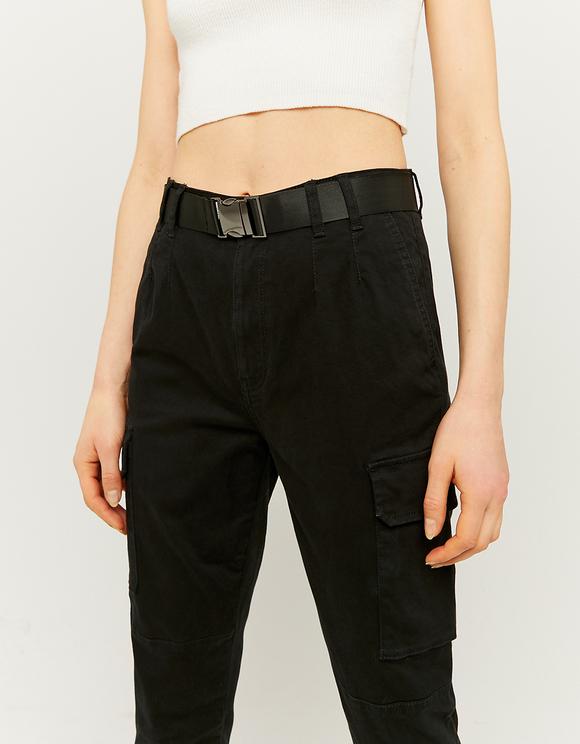Pantalon Noir Taille Haute Cargo