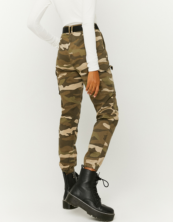 Camouflage High Waist Cargo Trousers