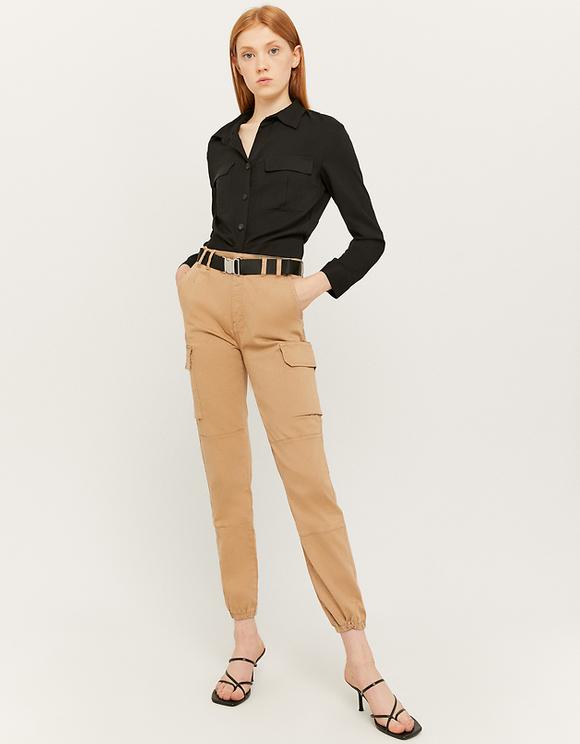 Pantaloni Cargo Senape a Vita Alta
