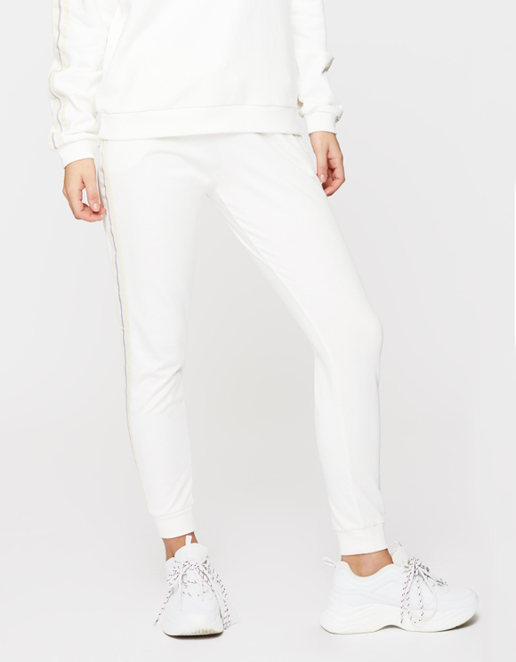 White Side Stripe Joggers