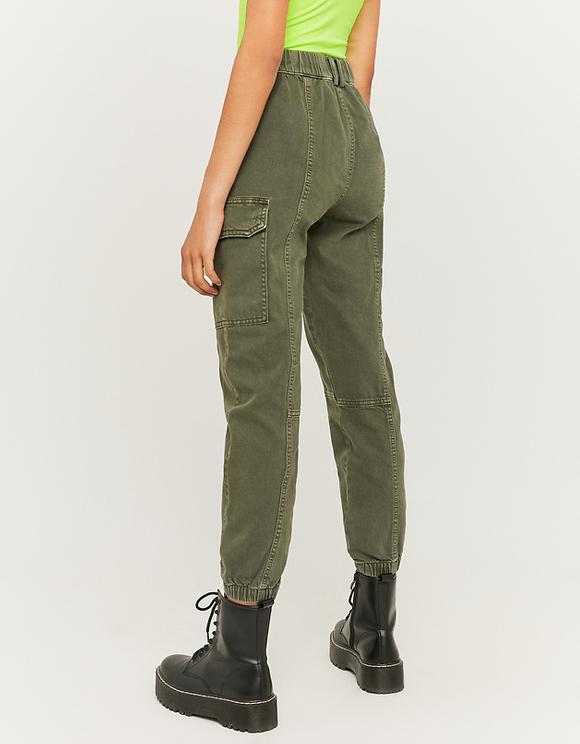 High Waist Denim Cargo Trousers