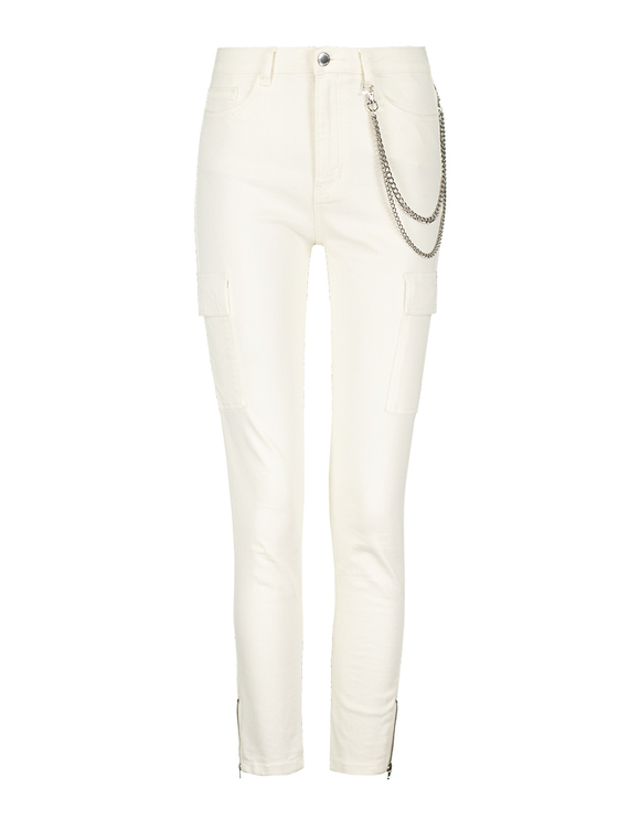Ivory Skinny Cargo Pants with Chain Detail