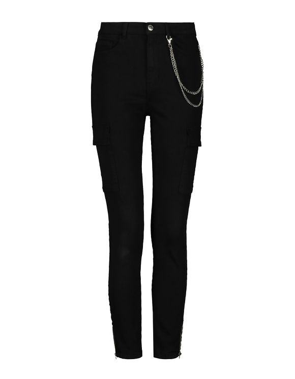 Black Skinny Cargo Pants with Chain Detail
