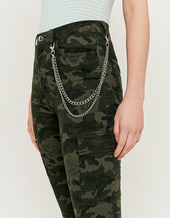 Skinny Cargo Pants with Chain Detail