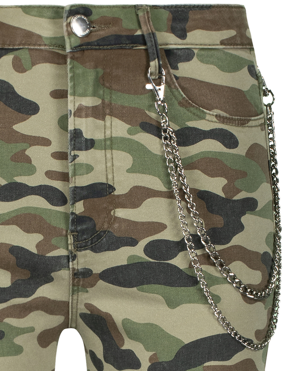 Camouflage Skinny Cargo Pants with Chain Detail