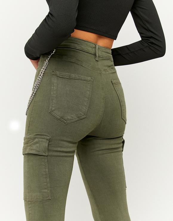 Green High Waist Cargo Trousers