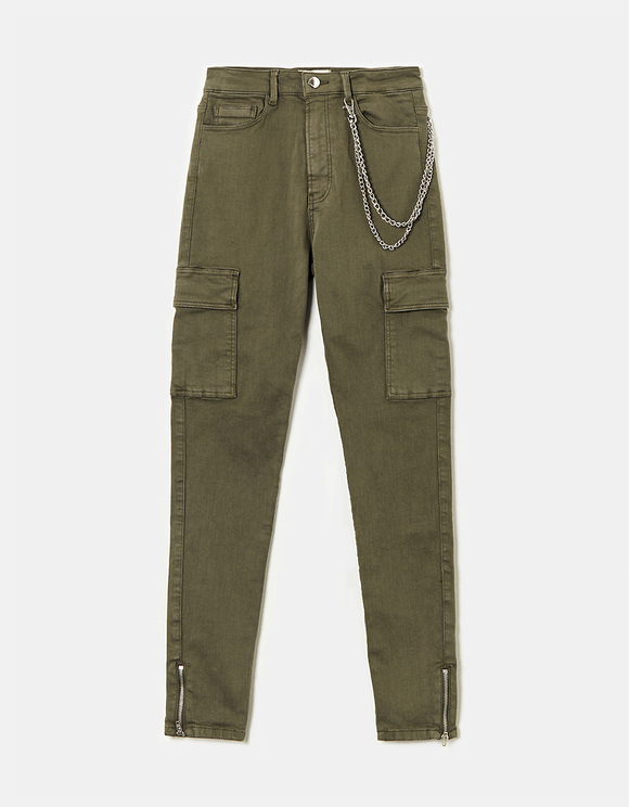 Khaki Skinny Cargo Pants with Chain Detail