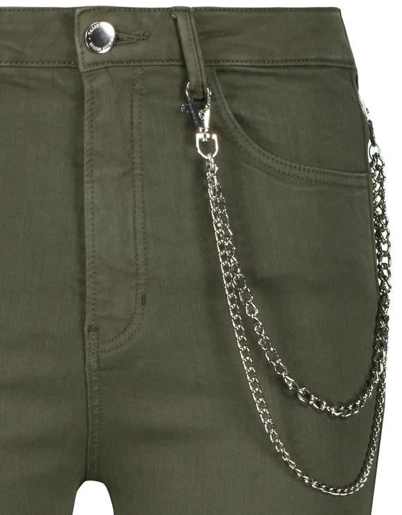 Pantalon Cargo Skinny Kaki avec Détail Chaîne