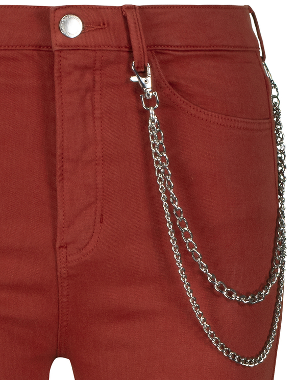 Czerwone spodnie Skinny Cargo z łańcuszkiem