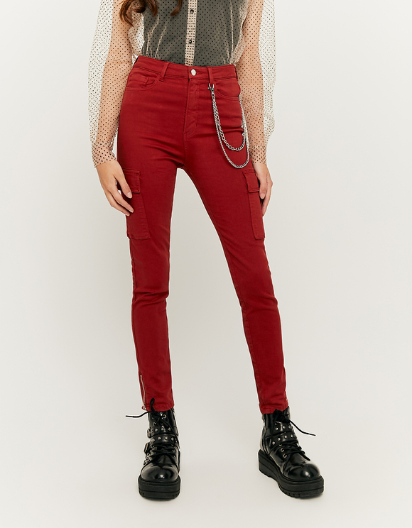 Rusty Red Skinny Cargo Pants with Chain