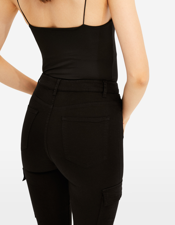 Black High Waist Skinny Cargo