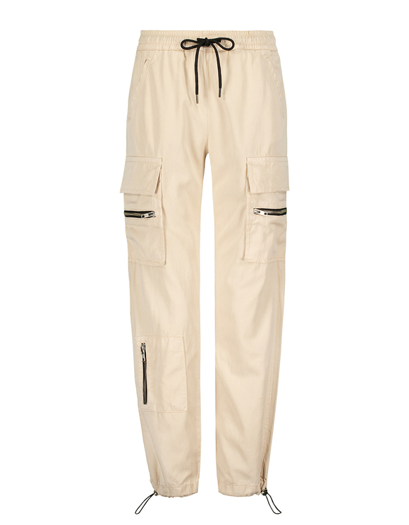 Beige Zipped Cargo Pants