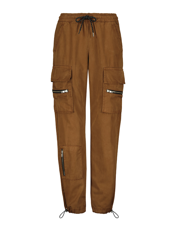 Cognac Zipped Cargo Pants