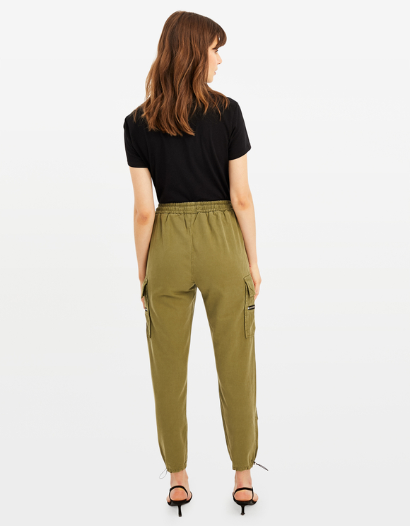 Khaki Zipped Cargo Pants