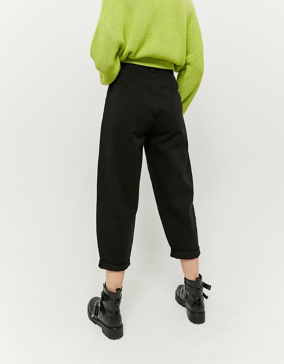 Czarne spodnie Slouchy z wysokim stanem