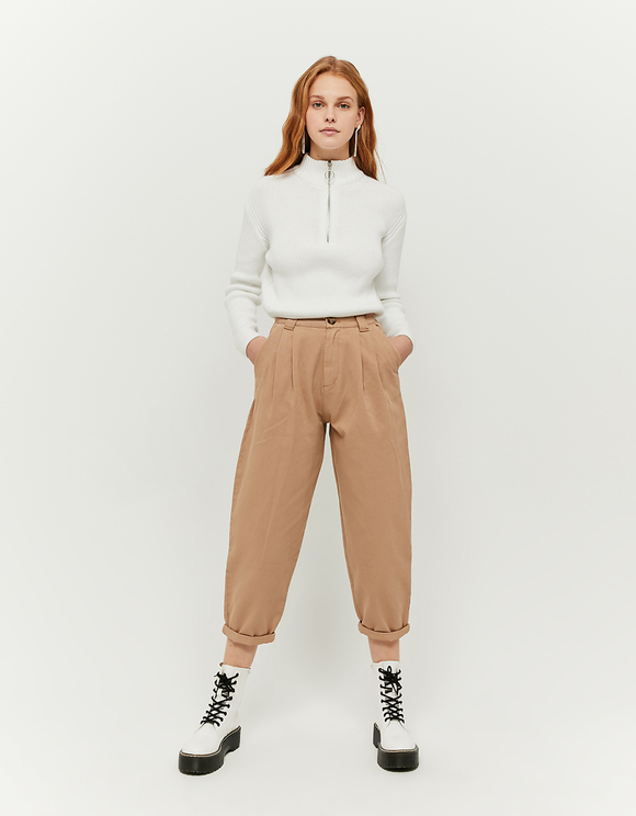 High Waist Slouchy Beige Pants
