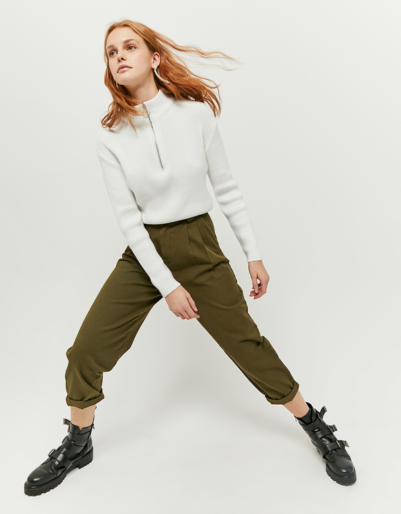 High Waist Slouchy Khaki Pants