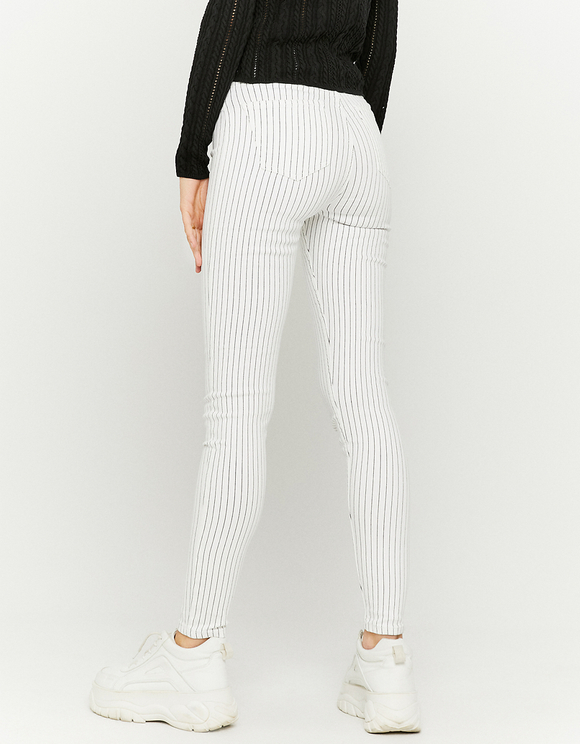 High Waist Pinstripe Skinny Jeans