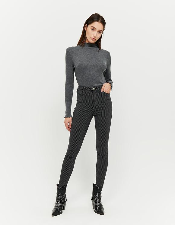 Pantalon Noir Skinny Rayé