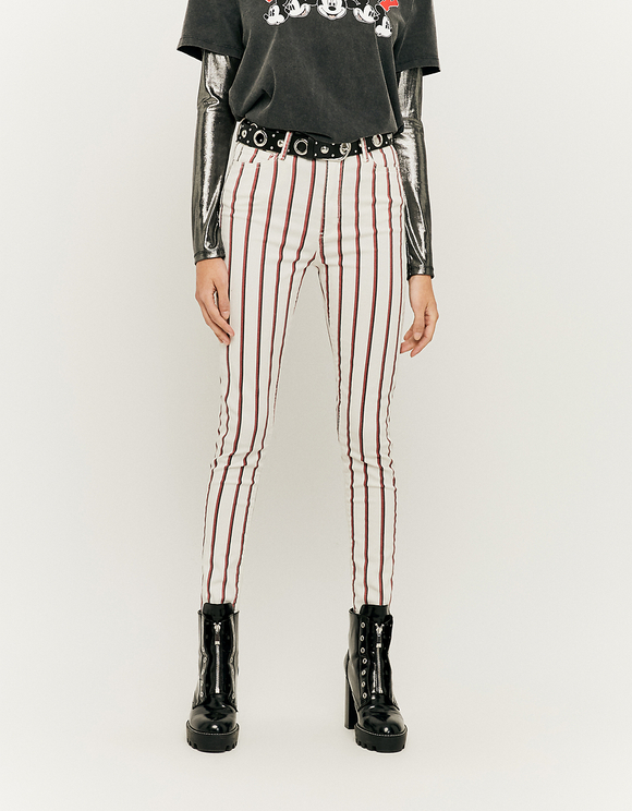 Pantaloni Skinny Gessati a Vita Alta