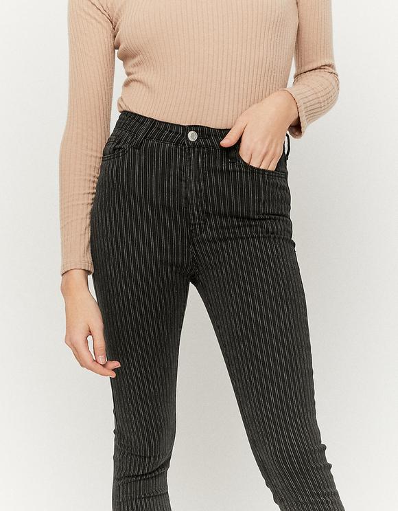 Spodnie Skinny w paski z wysokim stanem