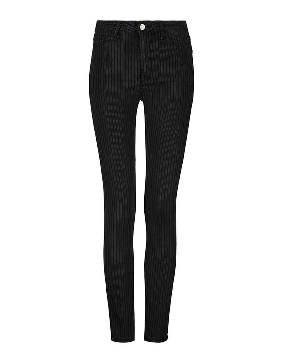 Pantaloni Skinny a Righe a Vita Alta