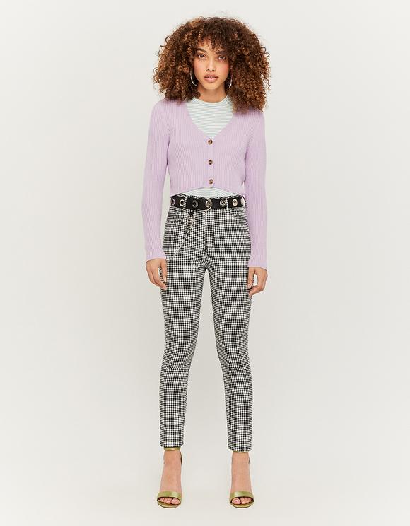 Gingham Print Skinny Trousers