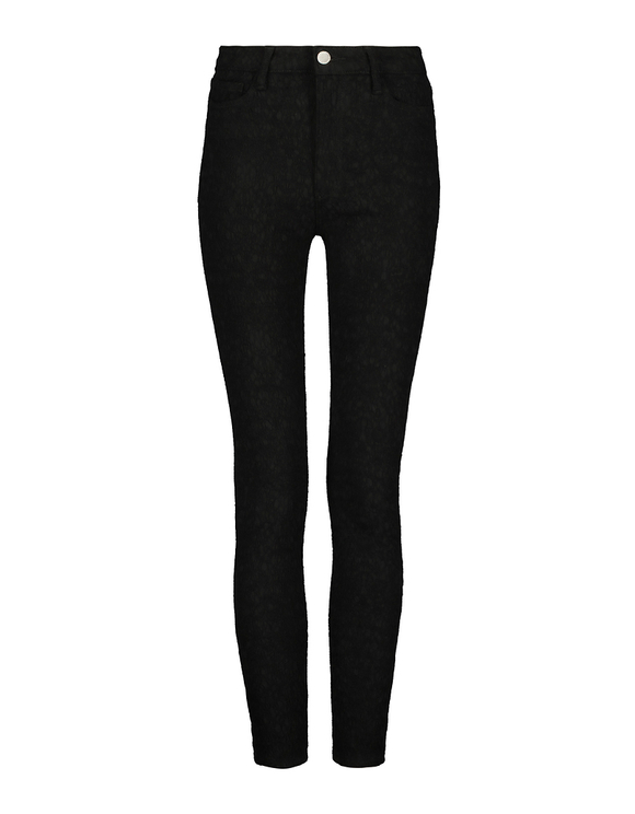 High Waist Skinny Pants with Lace Effect