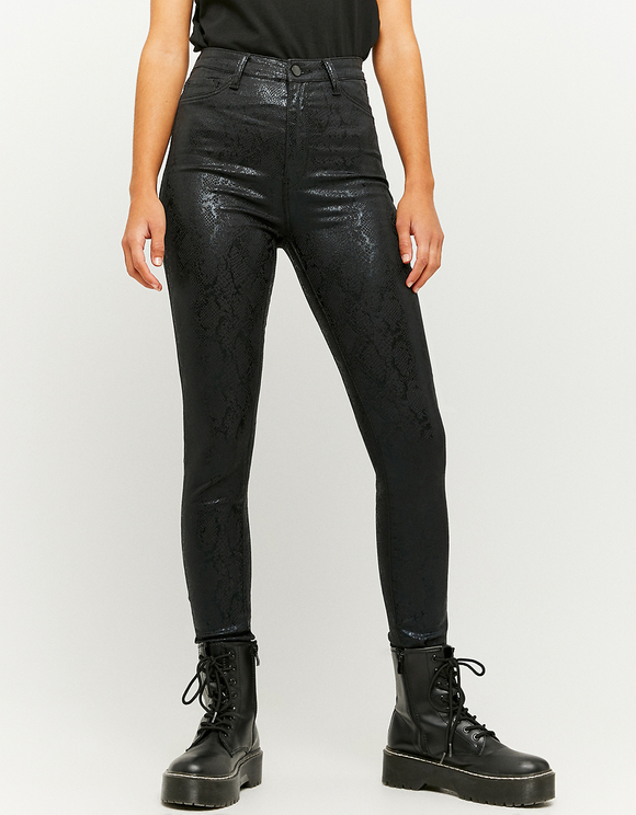 High Waist Snake Print Skinny Trousers