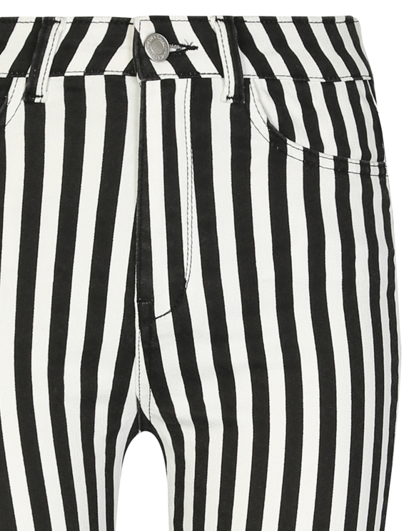 Black Striped Skinny Trousers