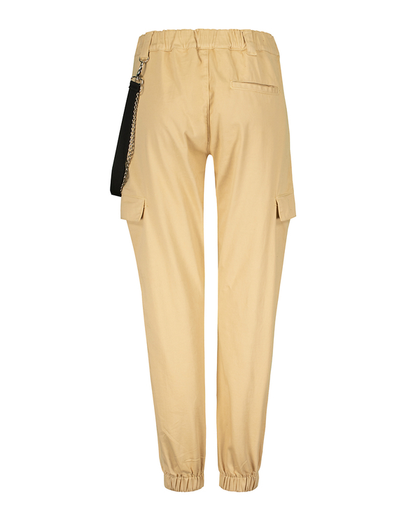 Beige Cargo Trousers with Chain Detail