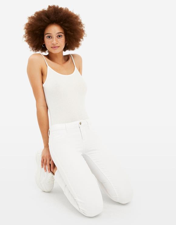 White Low Waist Skinny Trousers