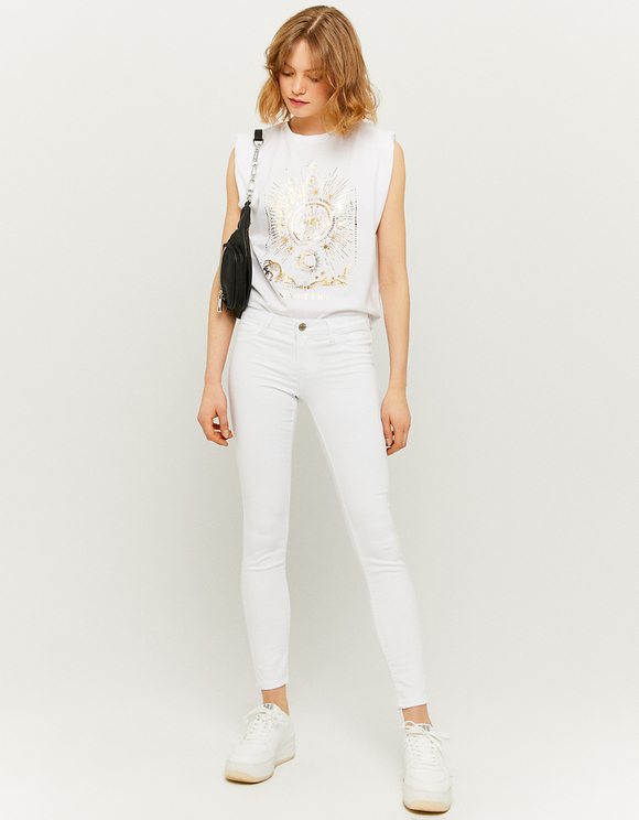 White Low Waist Skinny Trousers