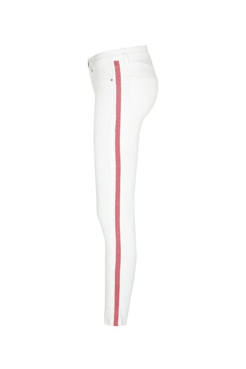 White Low Waist Pants with Sidebands