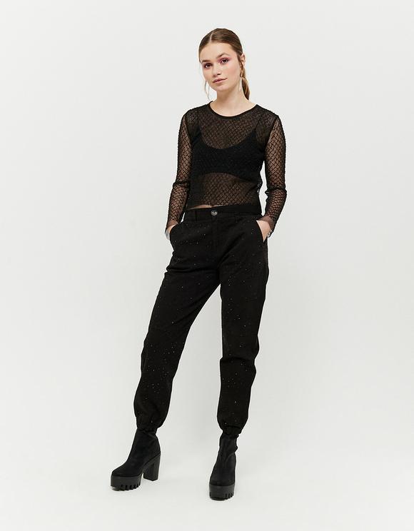 Black Cargo Trousers with Black Rhinestones