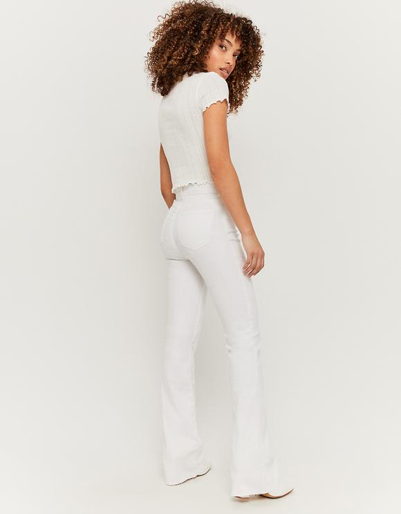 White High Waist Skinny Flare Trousers