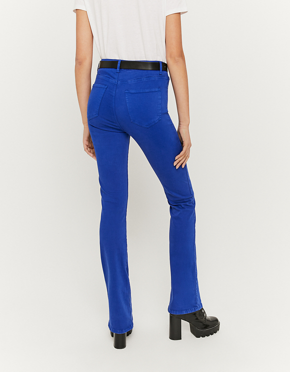 Blue High Waist Skinny Flare Trousers