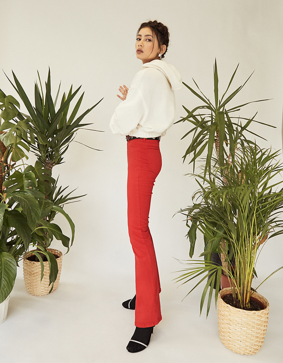 Red High Waist Skinny Flare Trousers