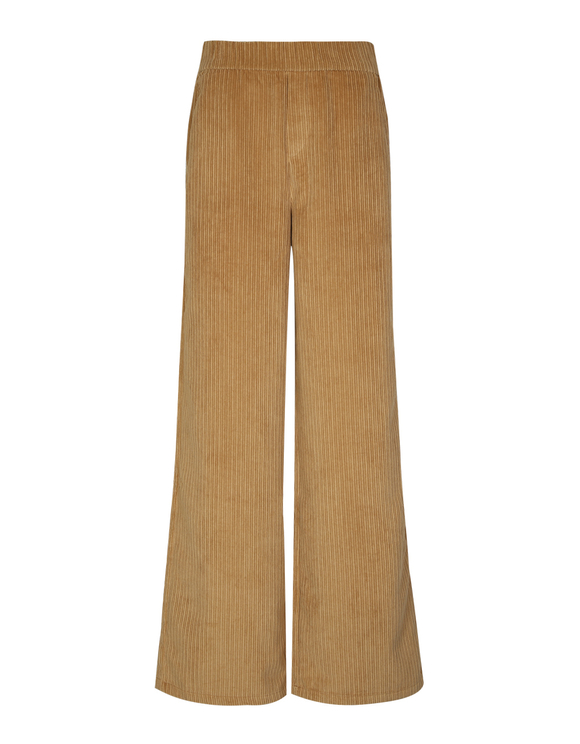 Beige Wide Leg Trousers