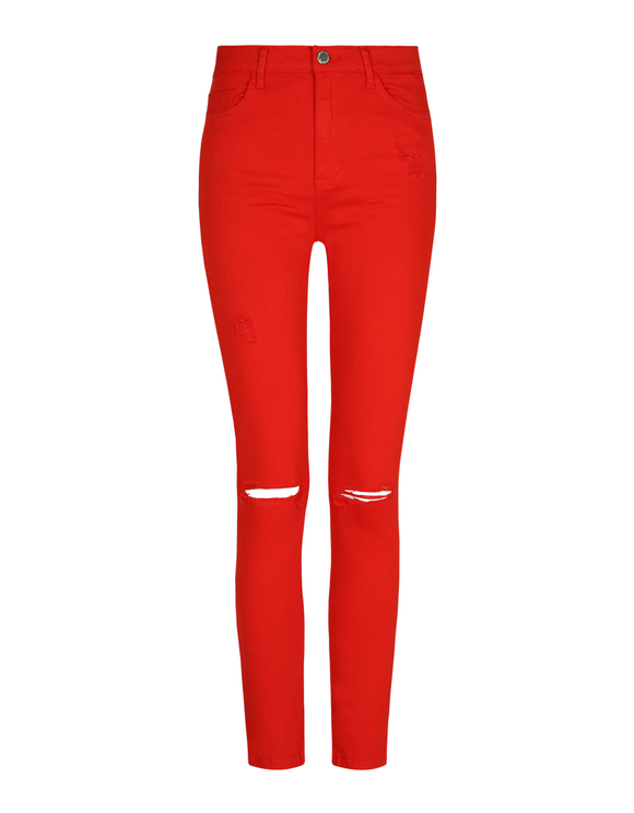 Red High Waist Pants with Destroys
