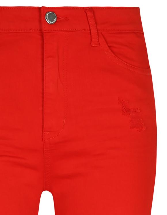 Rote High Waist Hosen mit Destroys
