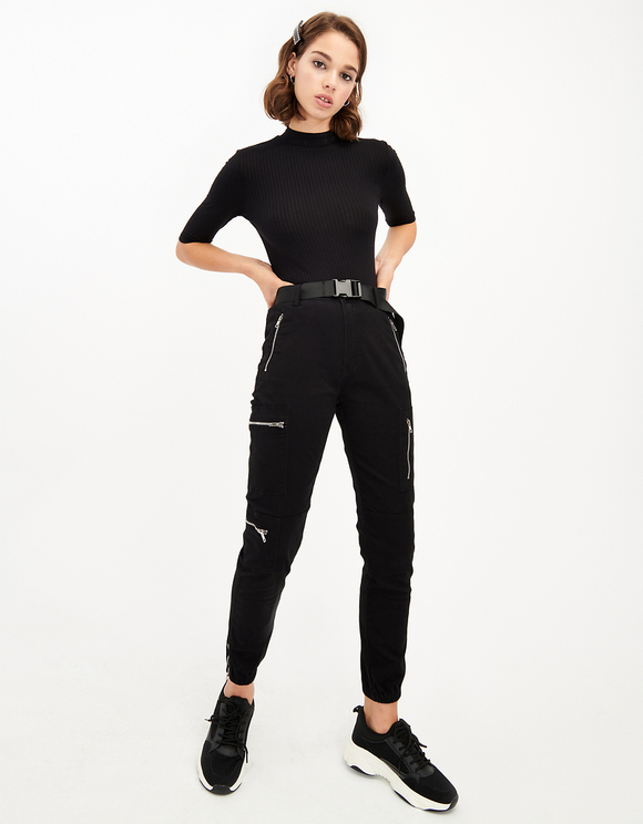 High Waist Belted Utility Cargo