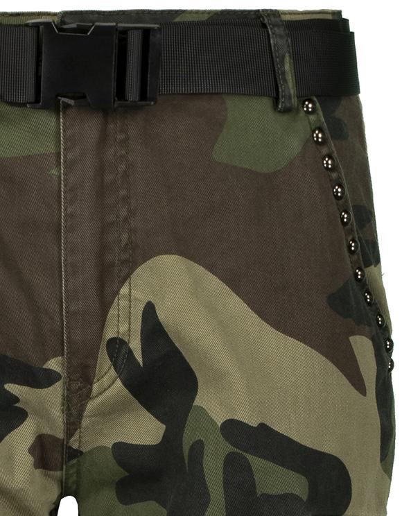 Pantalon Cargo Taille Haute Clouté