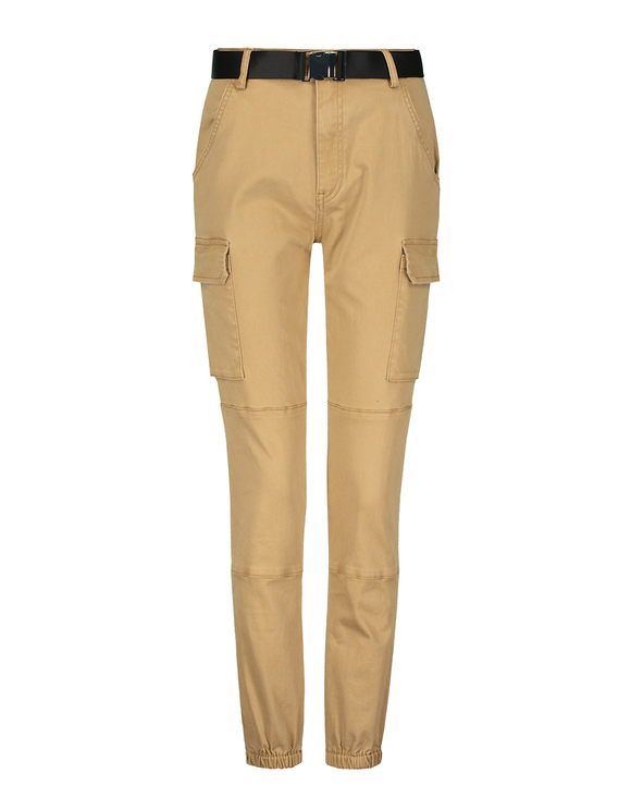 Beige High Waist Belted Cargo Pants