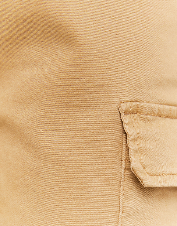 Beige High Waist Belted Cargo Pants